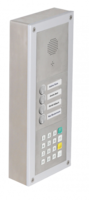 On wall mounted installation with SIP MAXI module, 2 button module and keypad module.