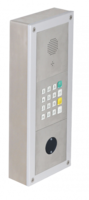 On wall mounted installation with SIP MAXI module, keypad module and motion detector.