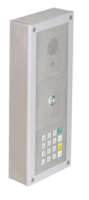 On wall mounted installation with SIP MAXI module, central call button and keypad module.