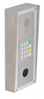 On wall mounted (with weather protection roof) installation with SIP MAXI module, keypad module and motion detector.